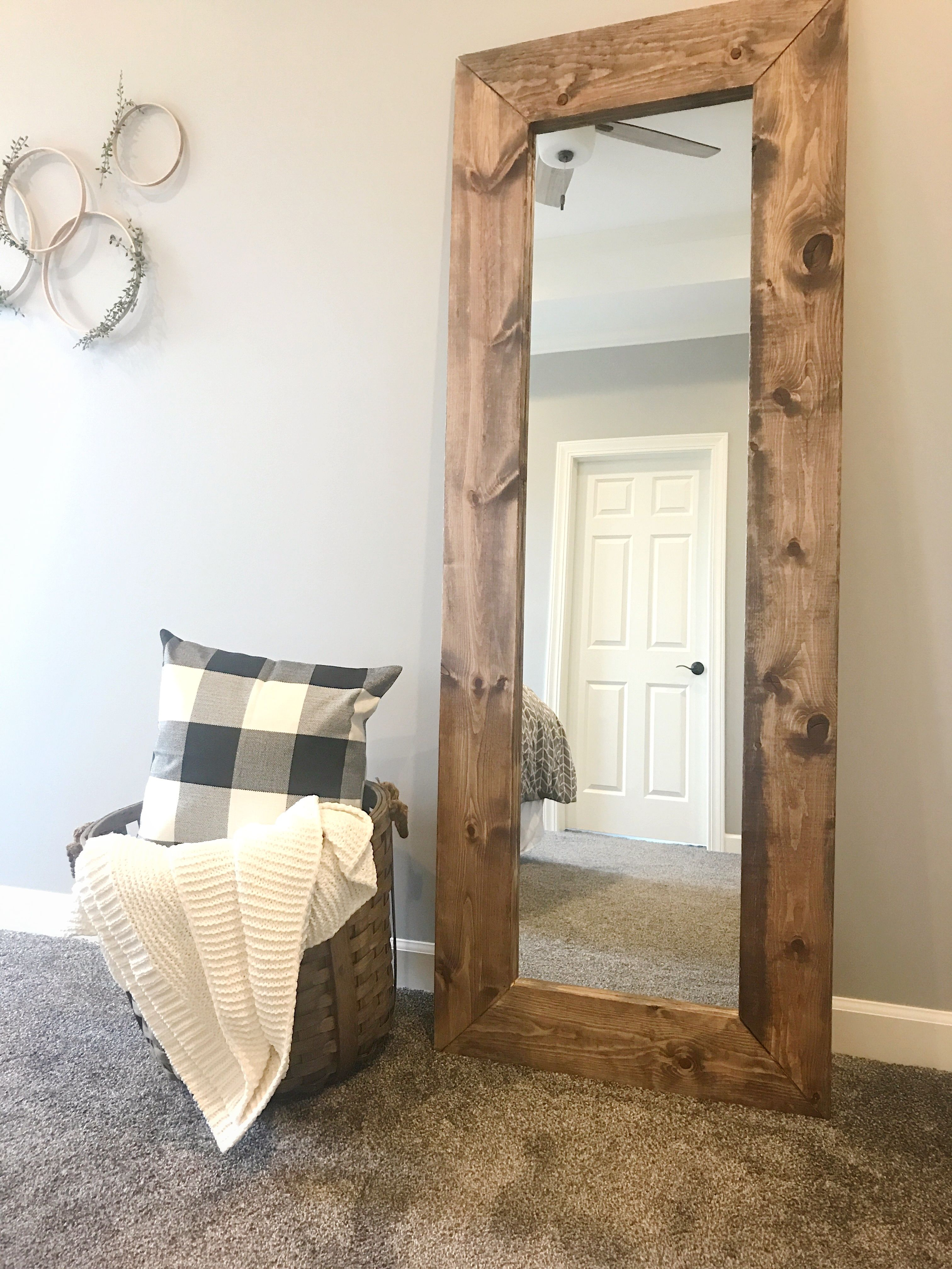 How To Build A Diy Wood Mirror Frame The Holtz House Diy Wood Mirror Frame Mirror Frame Diy Wooden Mirror Frame