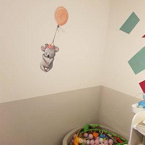 Wandtattoo Kinderzimmer Aquarell Tiere Panda Bär mit