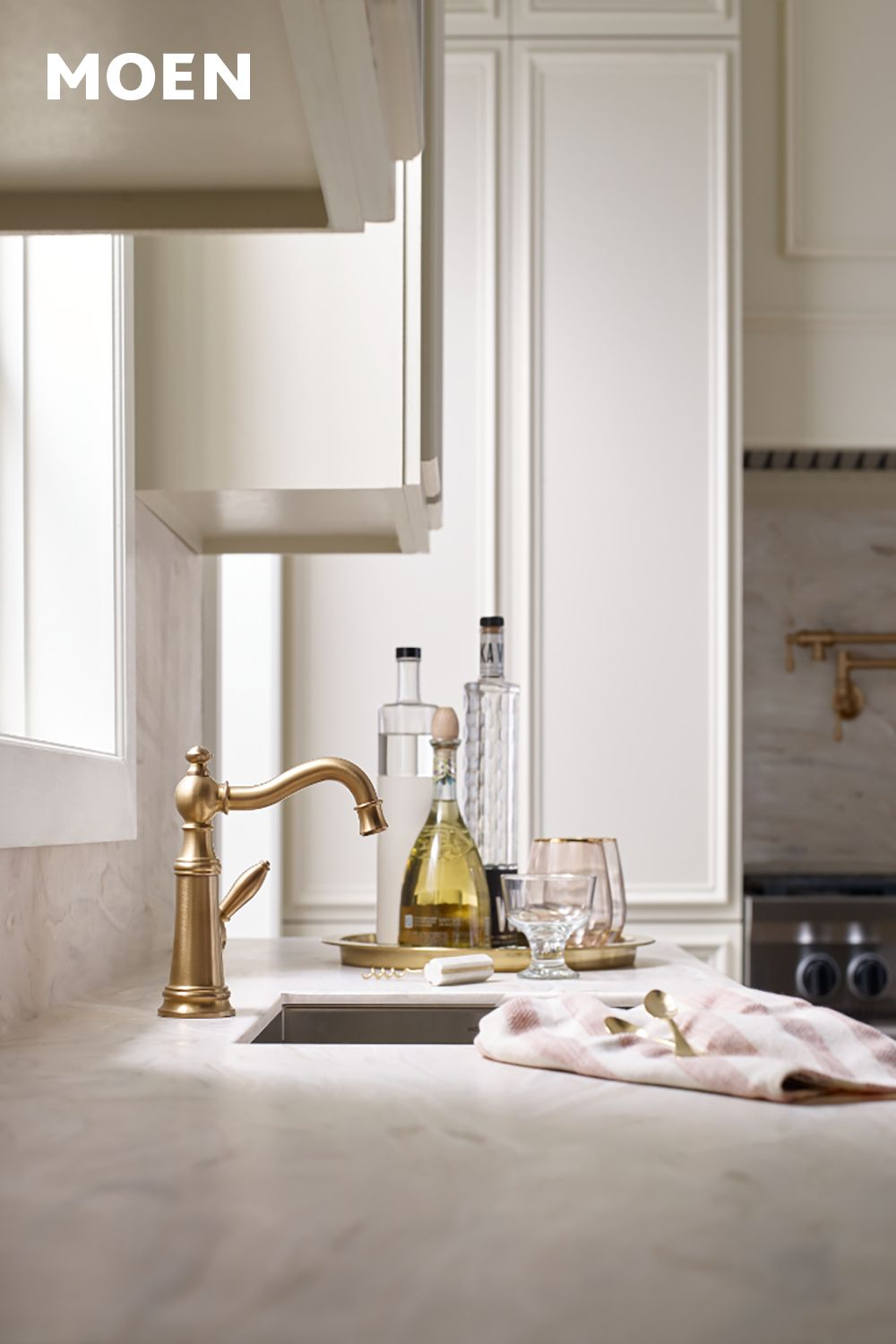 Weymouth Brushed Gold One Handle High Arc Kitchen Faucet