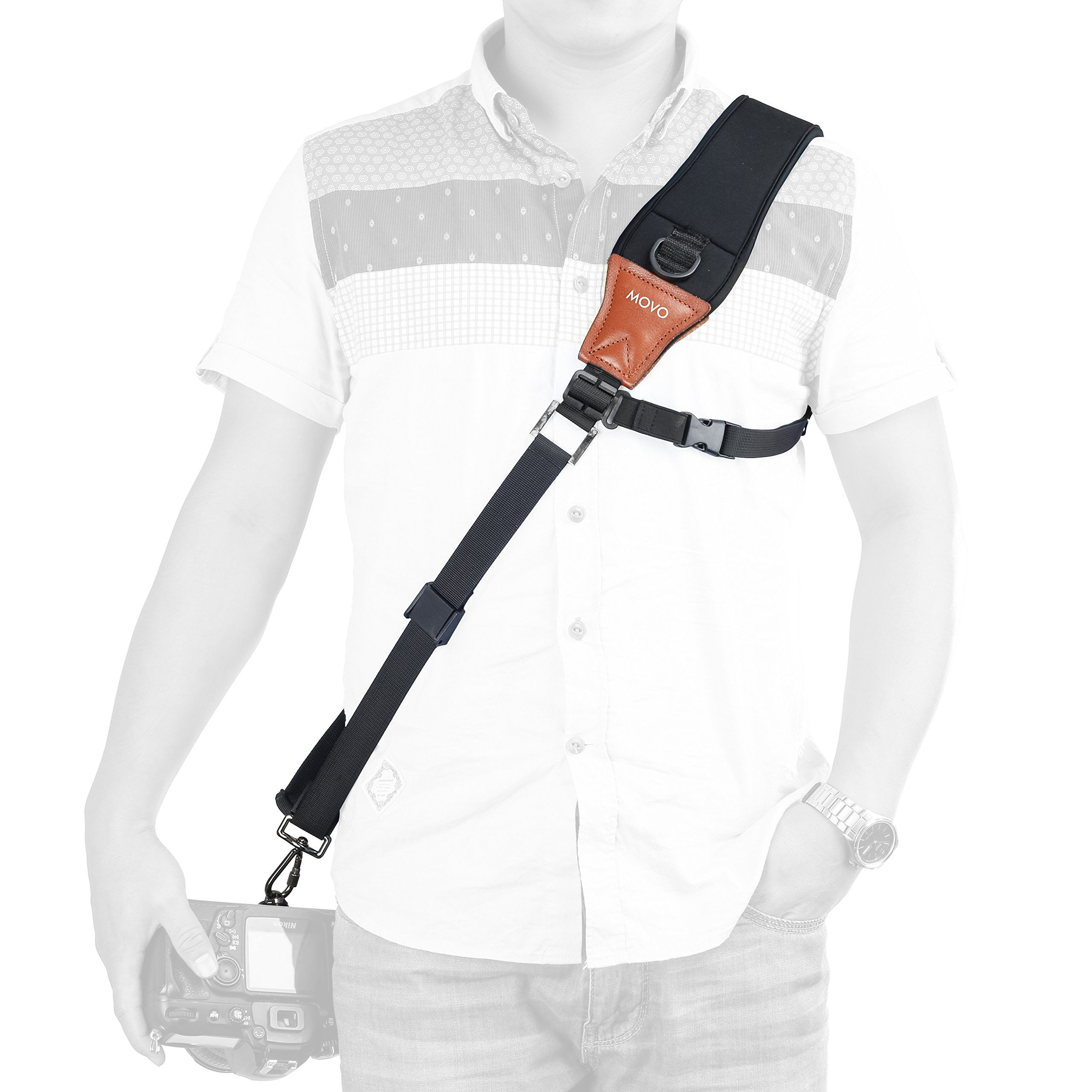 Movo Mp Ss7 Rapid Action Over The Shoulder Camera Sling Strap With Caden Quick Kamera Release Clip Neoprene Vintage Leather Pad