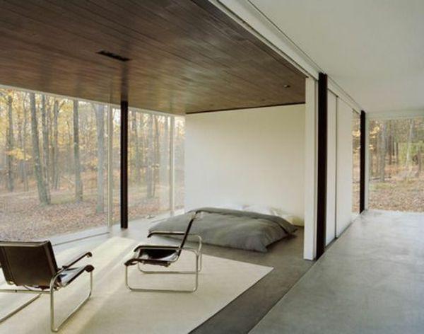 Beige Schlafzimmer Modern Gestalten Mit Einer Gläsernen Wand
