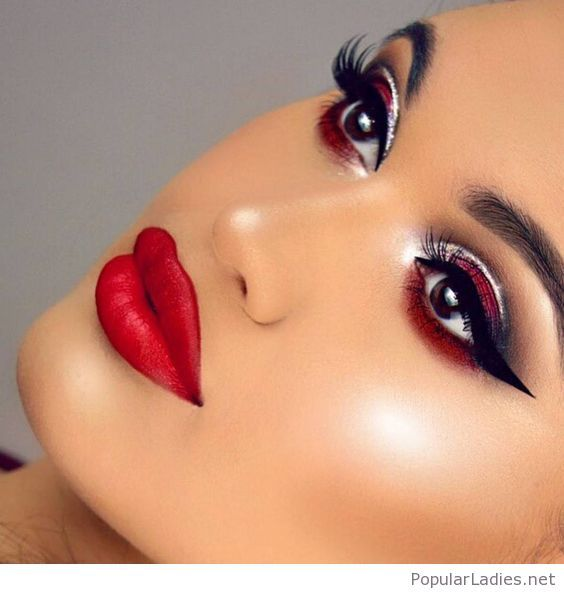 Red Makeup With Black And White Details Red Makeup Red Lip