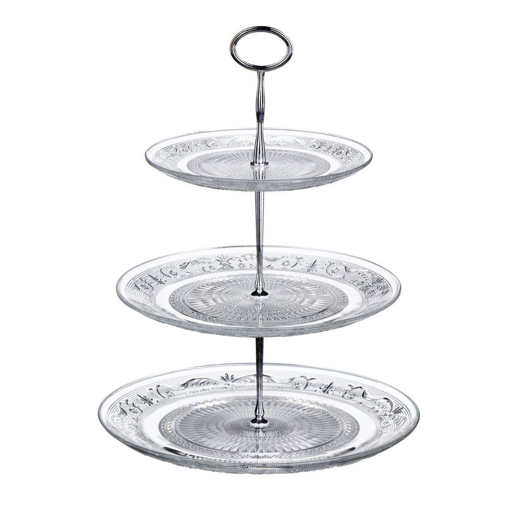 3 tier clear glass cake stand serve cupcakes cake slices