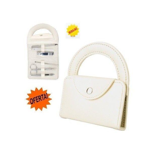 Set manicura bolso de 6 piezas. Color: blanco perla Forma bolso con ...