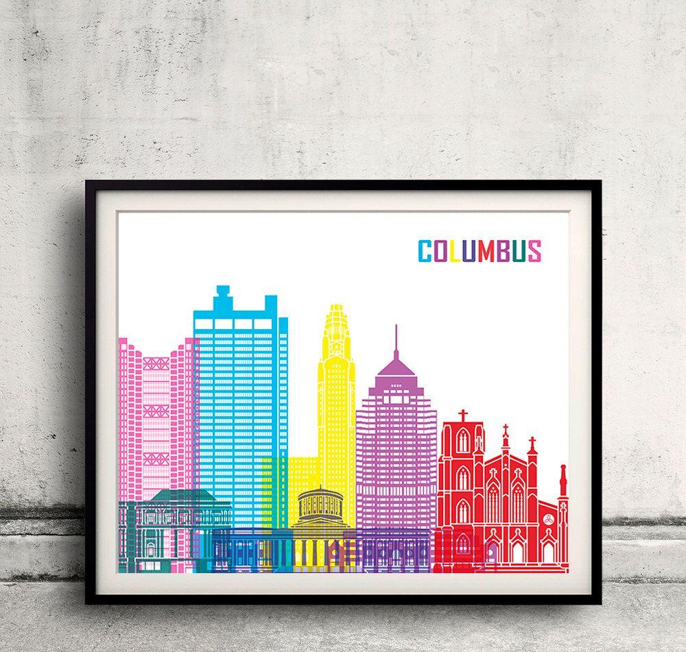 Columbus pop art skyline - Fine Art Print Glicee Poster Decor Home Gift Illustration Wall Art Pop Art Colorful Landmarks - SKU 2480 by Paulrommer on Etsy