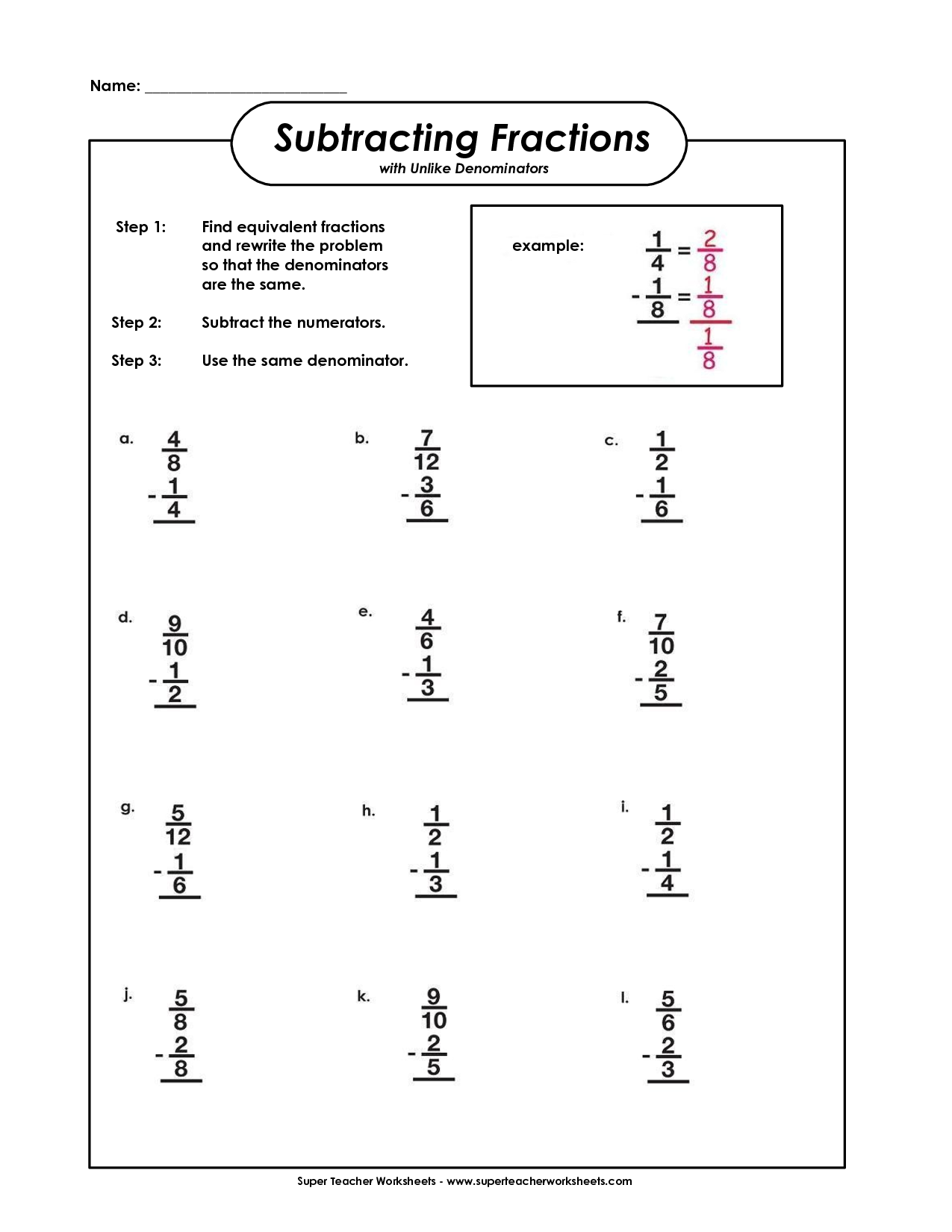 subtracting fractions with unlike denominators | teacher ideas