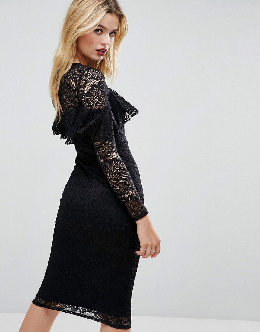 ASOS Midi Lace Pencil Dress with Long Sleeves and Frill
