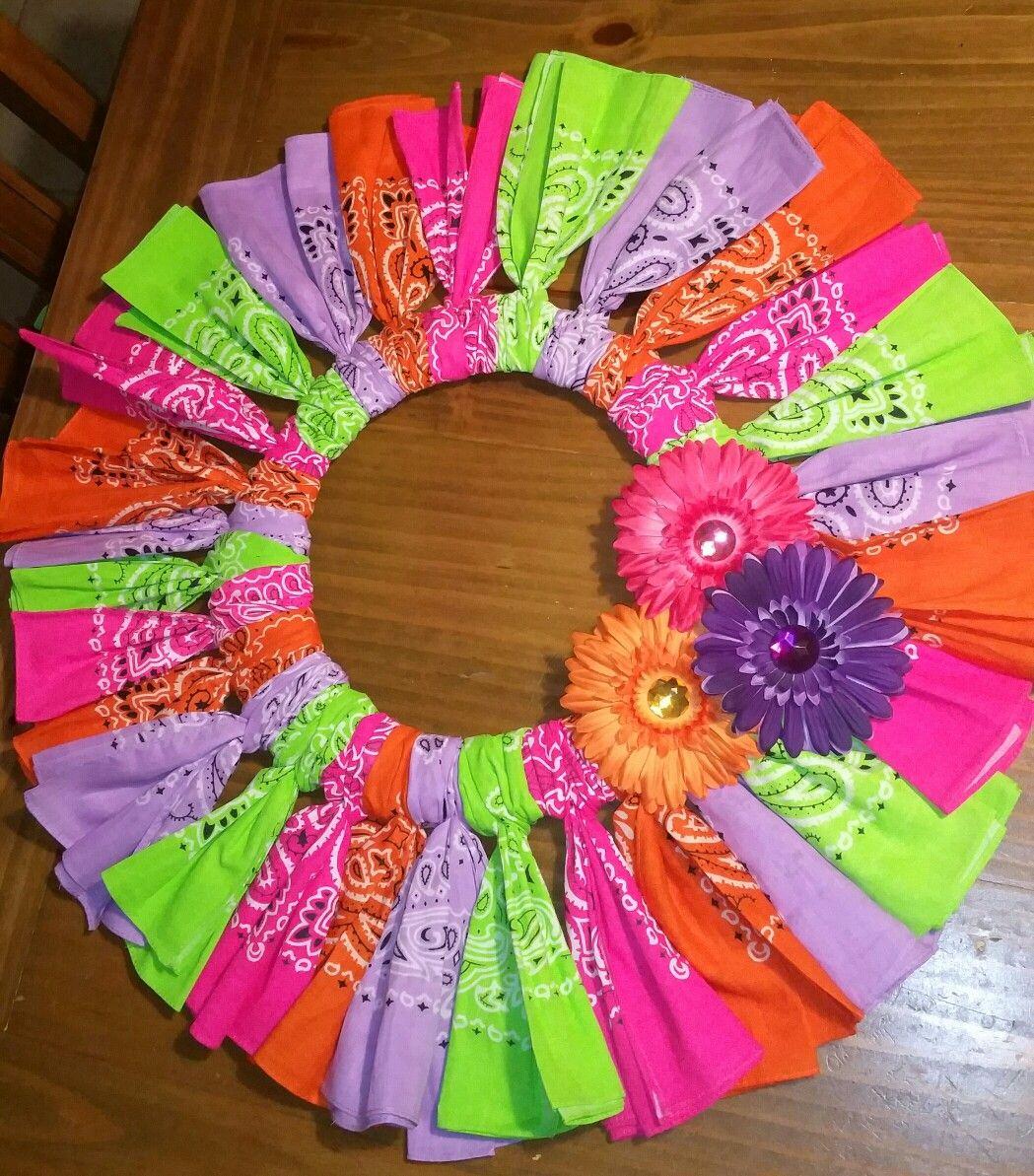 Bandana and Fabric Wreaths – Wendy Jane Creations  Bandana Wreath Directions
