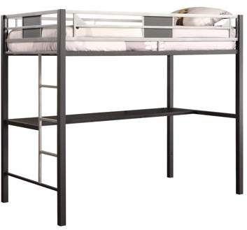 DHP Silver Screen Twin Metal Loft Bed With Desk, Black/Silver