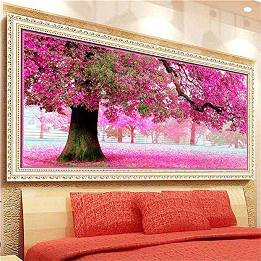 Amazon Com Kisstaker 54x118cm Sakura Cherry Blossom Trees Diy Cross Stitch Embroidery Kit Home Decor Art Diy Cross Stitch Cross Stitch House Cross Stitch Tree