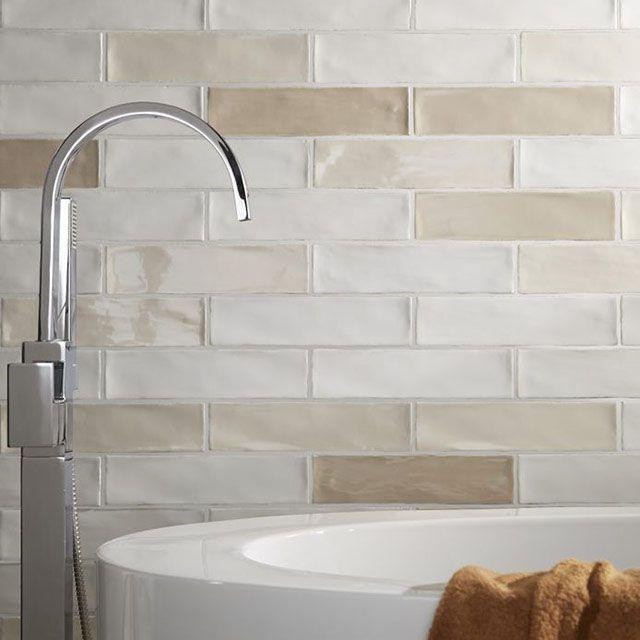 Carrelage mural blanc mat 7,5 x 30 cm Nouria - CASTORAMA | tiles en ...