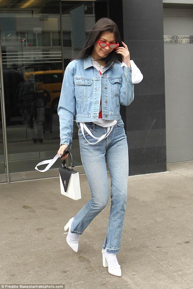 c1c88f34e061 Bella Hadid wearing Re Done Elsa Flare Jeans