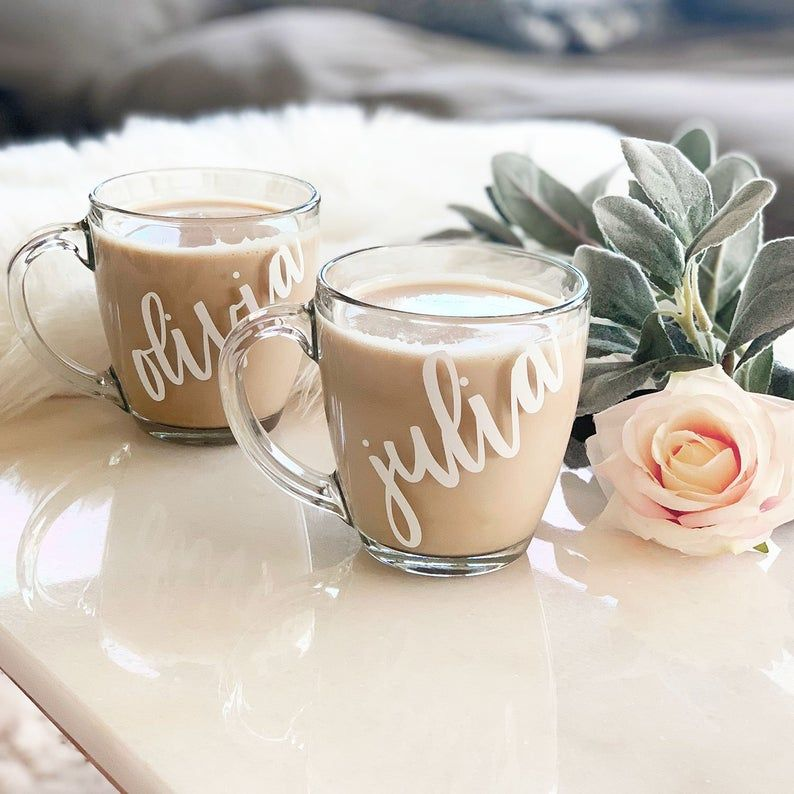 Bridesmaid Mugs Personalized Coffee Mugs Coffee Mug for Women Gifts Glass Coffee Mugs with Name Bridesmaid Gift Ideas (EB3289P)