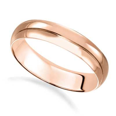 Zales Ladies 4.0mm Low Dome Wedding Band in 14K Gold mLCdI