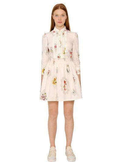 05f89d17a1c RED VALENTINO Floral Printed Cotton Poplin Shirt Dress