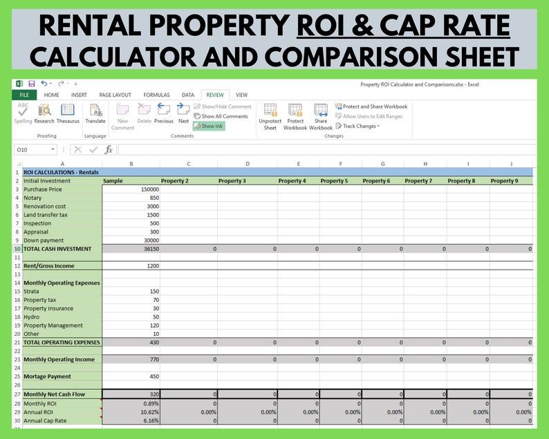 Rental Property Roi And Cap Rate Calculator And Comparison Etsy In 2021 Rental Property Management Rental Property Real Estate Investing