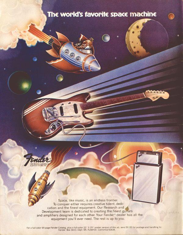 Fender The World/'s Favorite Flying Machine Stratocaster 1973 Advertising Poster