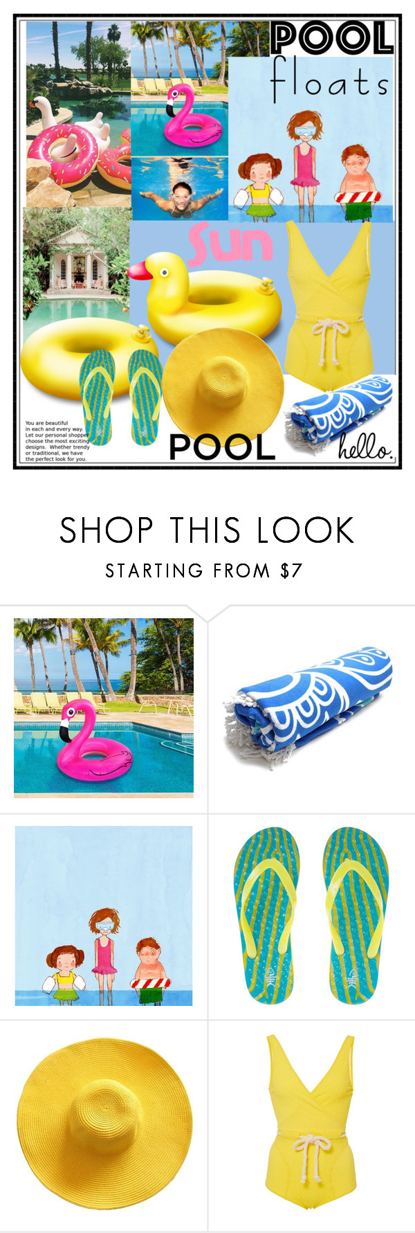 """Pool fun"" by kleinwillwin ❤ liked on Polyvore featuring interior, interiors, interior design, home, home decor, interior decorating and Lisa Marie Fernandez"