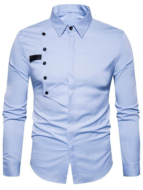 6de3bd8ba90 Cover Placket Buttons Design Shirt - LIGHT BLUE XL