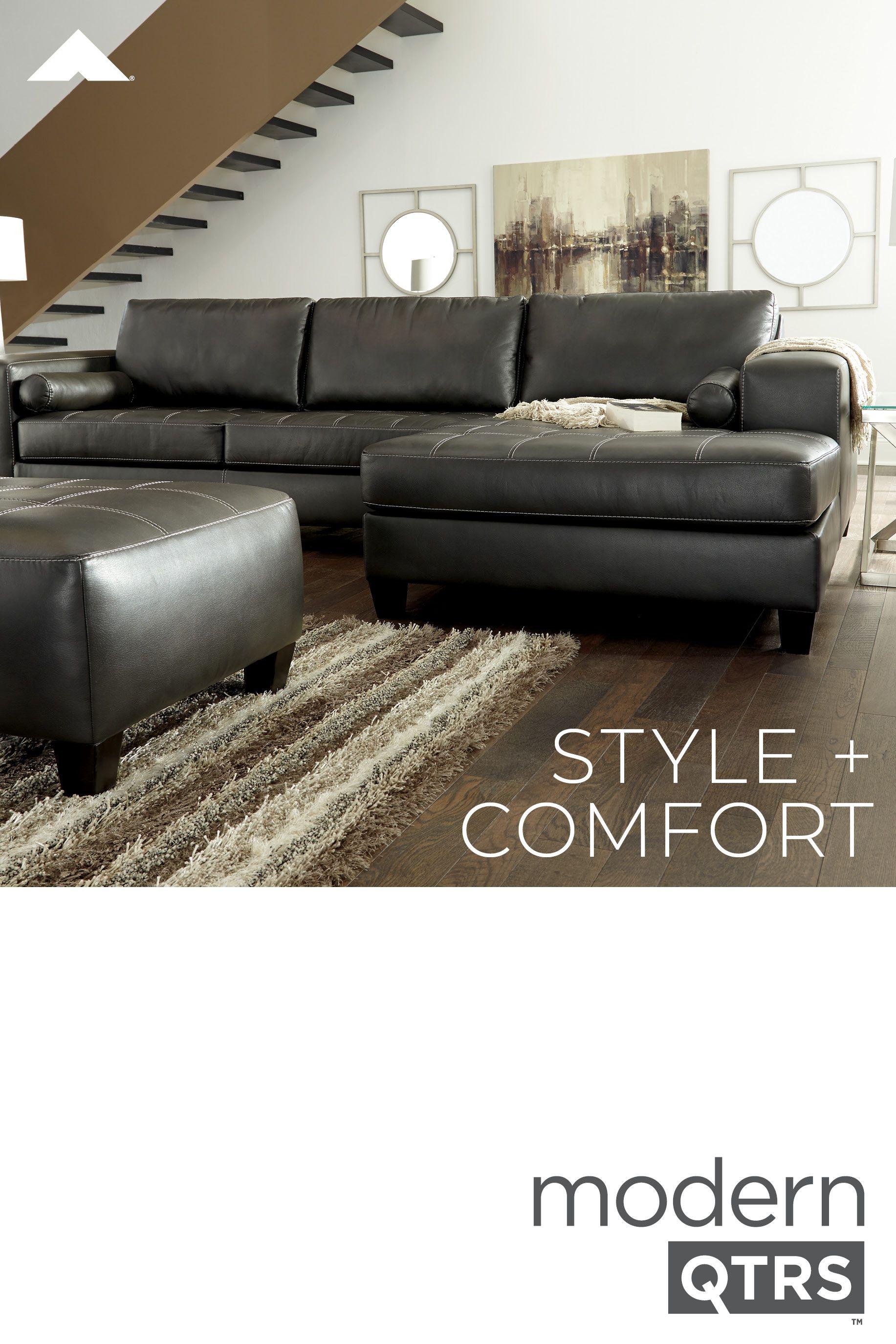 Nokomis Charcoal Sofa Chaise By Ashley Furniture