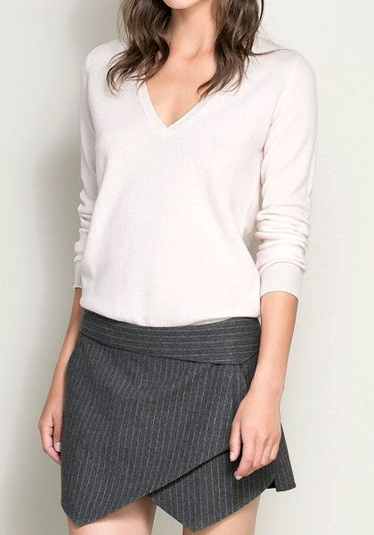 Stripe Woolen Blend Skorts @LookBookStore