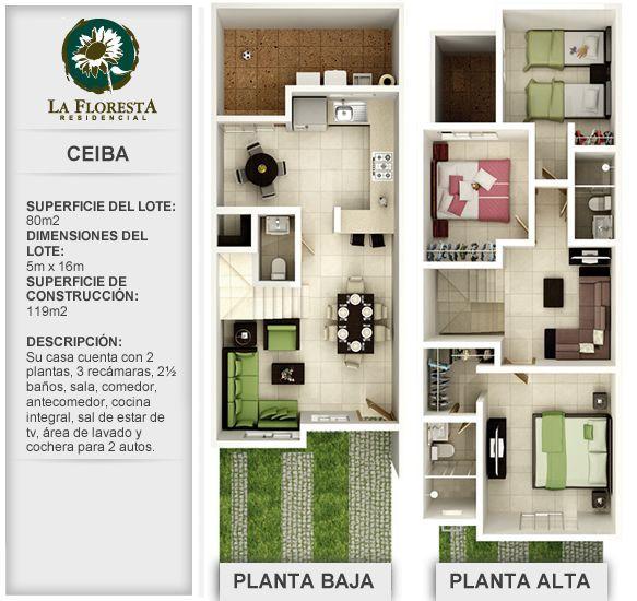 planos de casas de dos pisos de 8 x 16