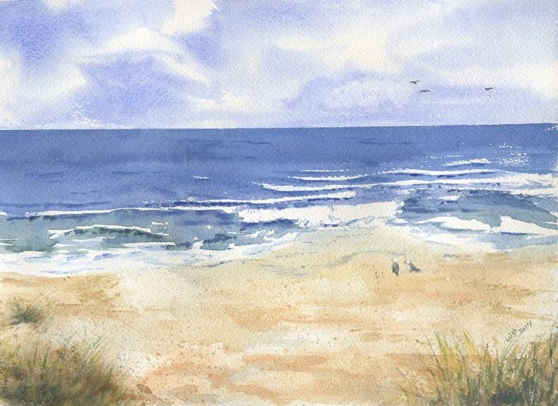 By The Sea Aquarell Strand Malerei Am Meer An Der Kuste Kunst