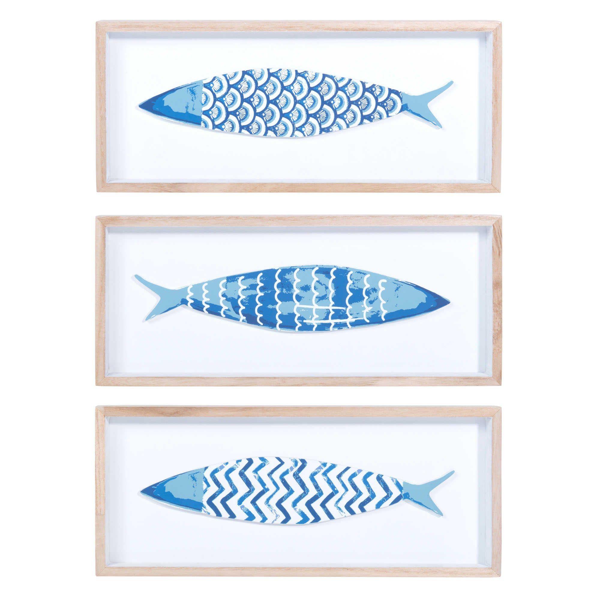3 Bilder Fische aus Holz, blau, 14 x 33 cm, AZZURA Jetzt bestellen ...