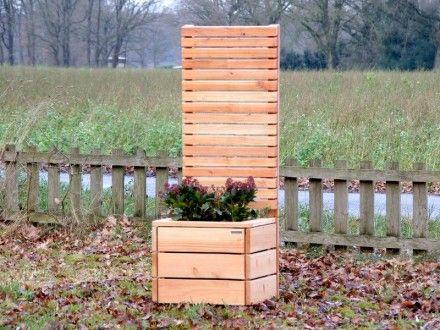 Pflanzsäule Holz M mit Sichtschutz Pflanzkasten