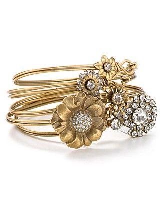 Elizabeth Cole 24kt Gold Plated Swarovski Crystal Bracelet Set | Bloomingdale's