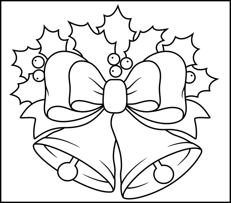 christmas bells printable coloring page