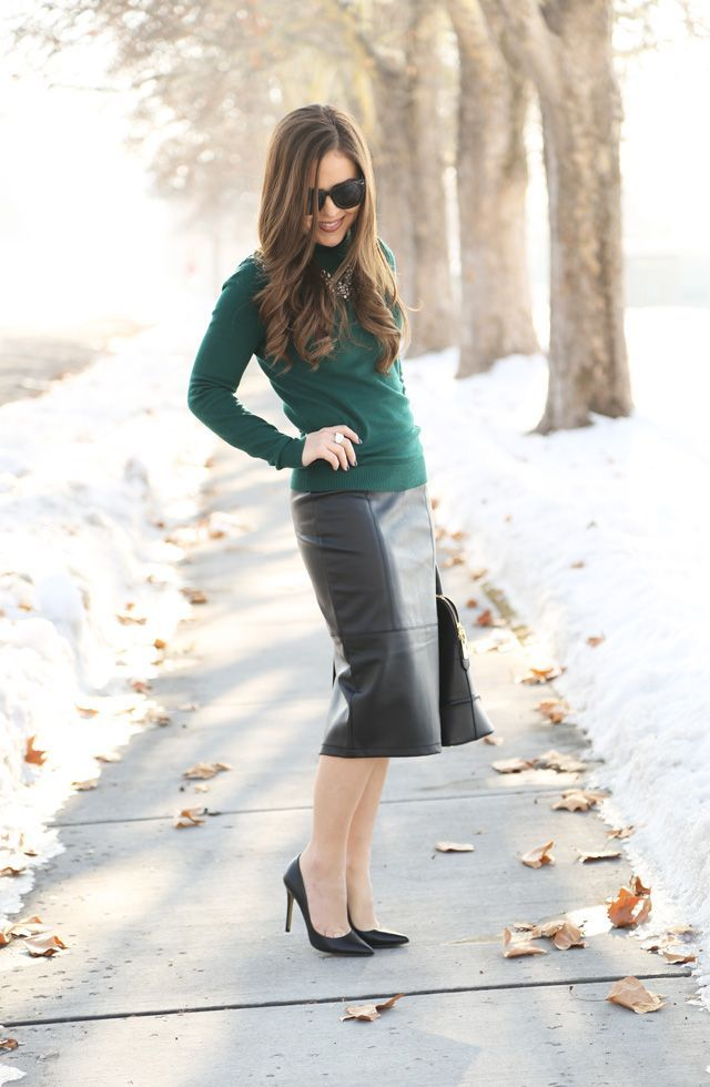 Leather Pencil Skirt Green Sweater Winter Style