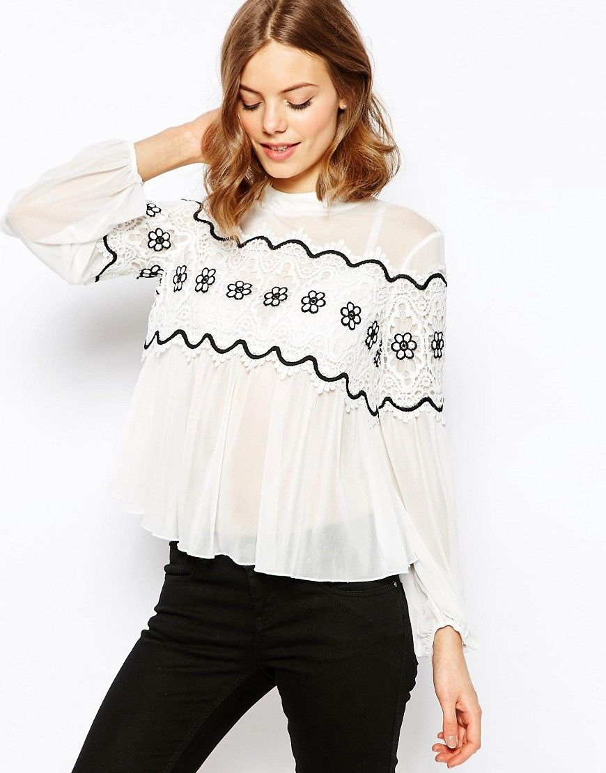 Image 1 of ASOS Lace Panel Top With High Neck In Knitted Chiffon
