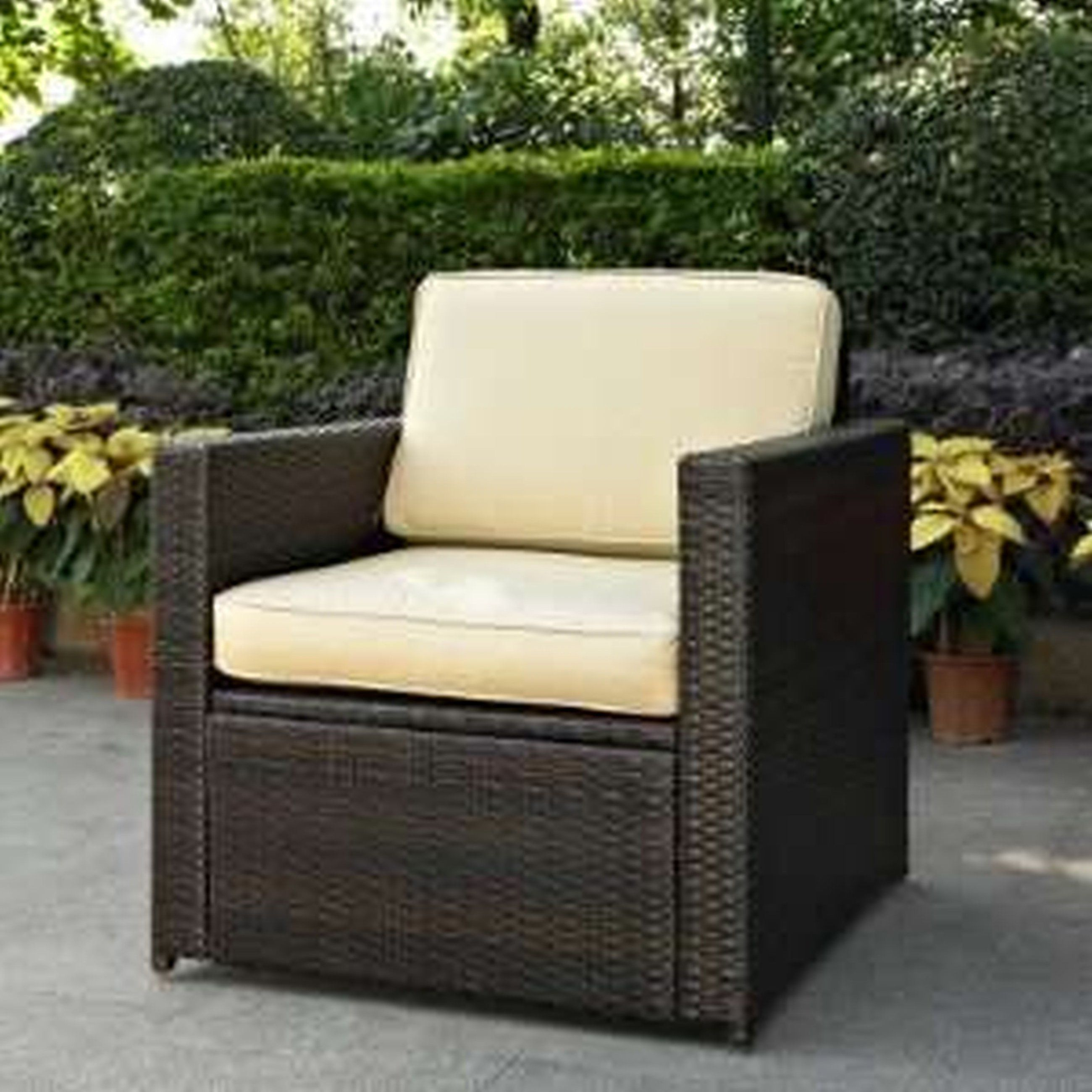 Garden Treasures Patio Furniture Replacement Cushions Wicker Chairs Outdoor Palmetto All Weather Armchair Black