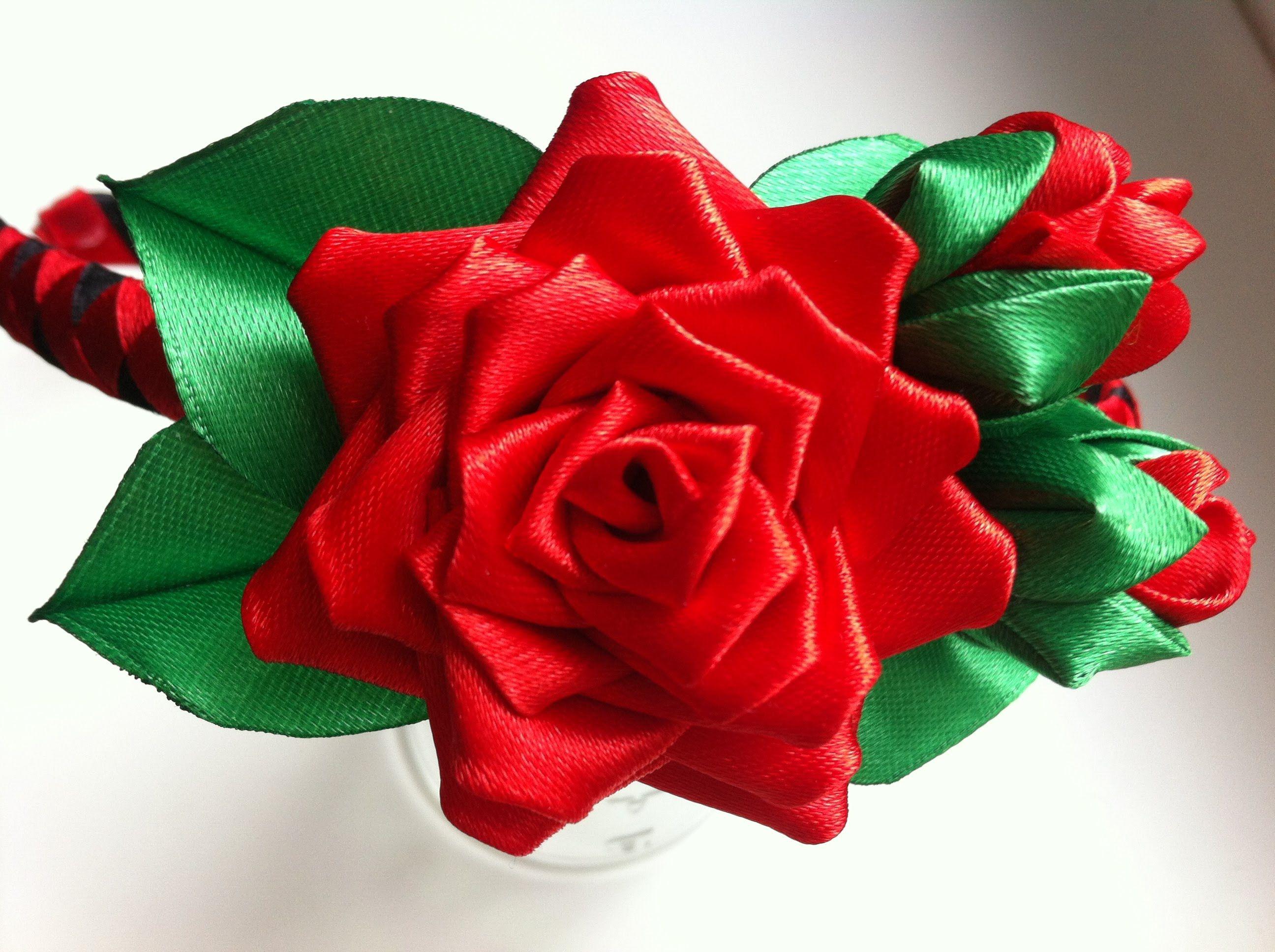 Украшение на ободок Канзаши / Красная роза с бутонами