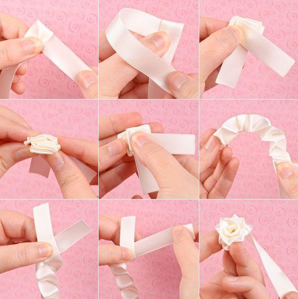 Cómo Hacer Rosas De Cinta El Blog De Losabalorios Com Tutorial Flor Hecha Con Cinta Hacer Rosas De Tela Hacer Flores Con Cintas
