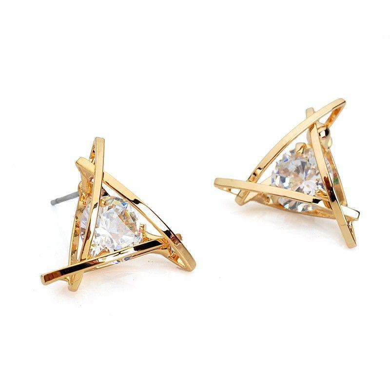 Europese Luxe Oostenrijkse Crystal Zirkoon Gold Driehoek Oorbellen Voor Vrouwen 2016 Fashion High-end Elegante Oorbellen Geschenken E296