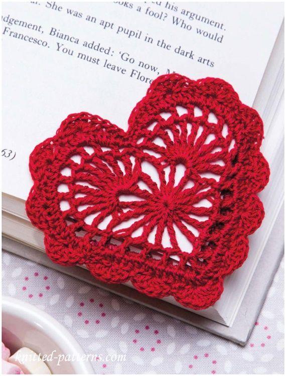 Crochet Heart Bookmark Free Pattern Crochet Heart Applique Free