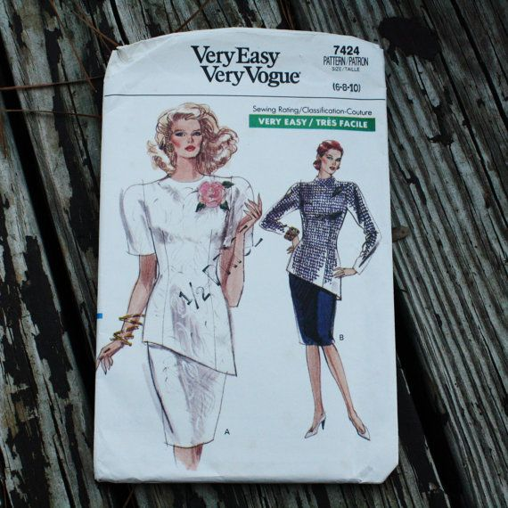 Very Easy Vogue 7424 1980s 80s Jacket Skirt Suit Blouse Vintage ...