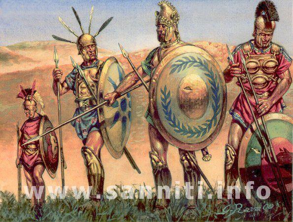 Guerrieri sanniti della Lega. Da sinistra: Caudino, Irpino, Lucano e Pentro (4)