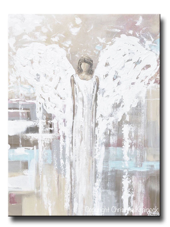 Original Abstract Angel Painting Modern Fine Art Guardian Angel Neutral Home Wall Art X Large 30x40 Giclee Print Abstract Angel Painting Painting
