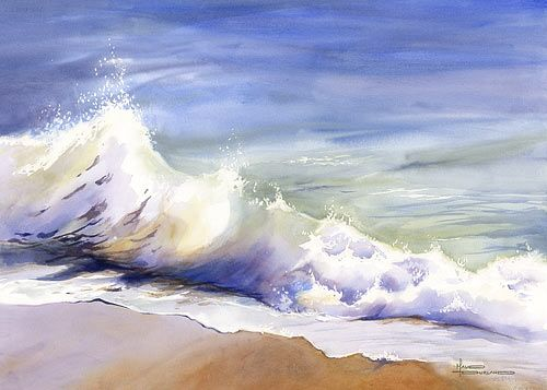 Maud Durand Watercolor Seascape Paintings Watercolor Landscape Ocean Painting