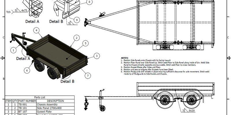 Tandem Box Trailer Plan - Trailer plans designs and drawings | Utility  trailer, Trailer plans, Box trailerPinterest