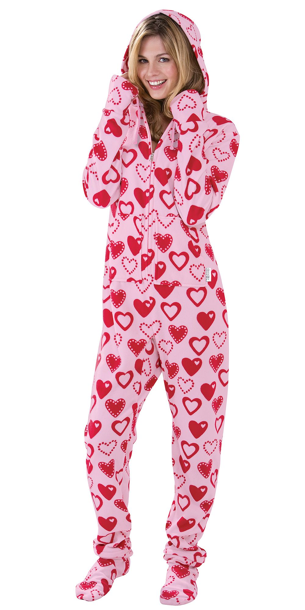 Sweetheart Snuggle Fleece Hoodie Footie For Women