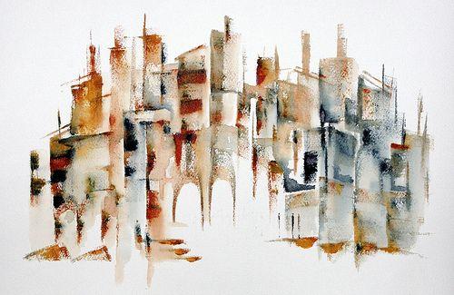 Atlanta Skyline Abstract Watercolor Painting Georgia Art Print by Artist DJR