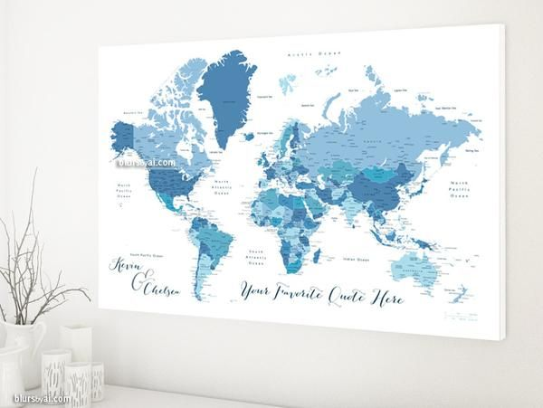 Personalized world map canvas print or push pin map shades of personalized world map canvas print or push pin map shades of blue world map with cities ethan gumiabroncs Choice Image