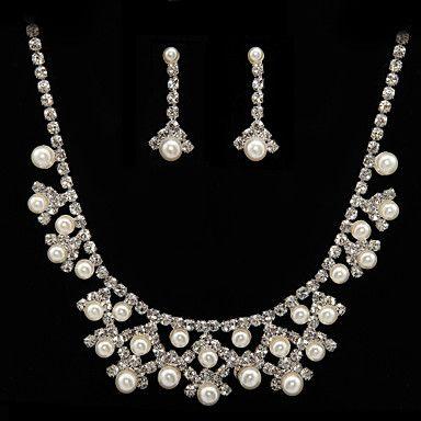 prachtige legering met strass / imitatieparels bruiloft bruids sieraden set, inclusief ketting en oorbellen – EUR € 16.49
