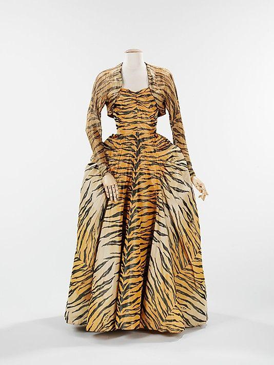 Evening ensemble Gilbert Adrian  Manufacturer: Textile by Bianchini-Férier Date: 1949 Culture: American Medium: silk, metal Accession Number: 2009.300.1297a, b