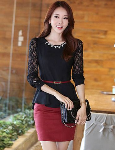 bc3210b357a8e Korean Style Lace Sleeve Chiffon Top