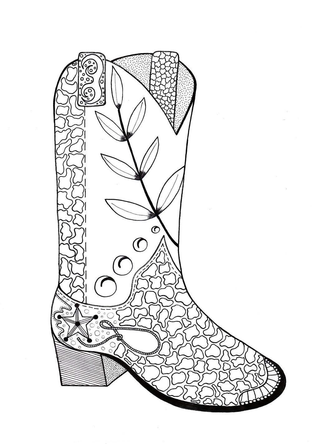 Cowboy Boot Adult Coloring Page | Colorear